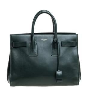 حقيبة يد سان لوران ساك دو جور كلاسيك صغيرة جلد خضراء داكنة