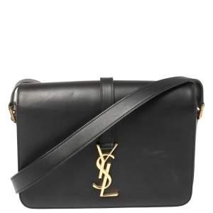 حقيبة كتف سان لوران قلاب يونيفرسيتيه مونوغرامية متوسطة جلد سوداء