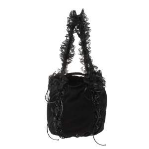 Saint Laurent Black Mesh and Lace Up Corset Bag