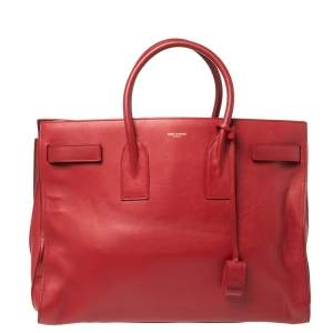 Saint Laurent Paris Red Leather Large Classic Sac De Jour Tote
