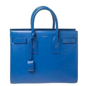 حقيبة يد سان لوران  ساك دو جور كلاسيك صغيرة جلد زرقاء