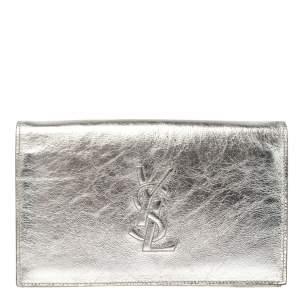 حقيبة كلتش سان لوران بل دو جور جلد لامعة فضية ميتالك