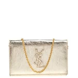 Saint Laurent Metallic Gold Patent Leather Belle De Jour Chain Clutch