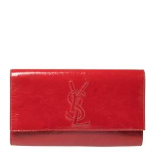 حقيبة كلتش سان لوران قلاب بل دو جور جلد لامعة حمراء