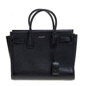 Saint Laurent Black Leather Baby Classic Sac De Jour Tote