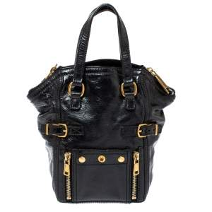 Saint Laurent Black Patent Leather Mini Downtown Tote