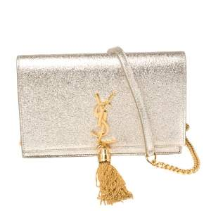 Saint Laurent Gold Textured Leather Kate Wallet on Chain