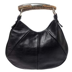 Saint Laurent Black Leather Mini Mombasa Hobo