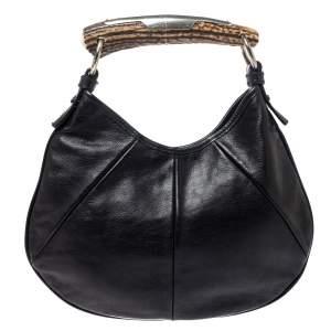 حقيبة هوبو سان لوران موباسا مينى جلد سوداء