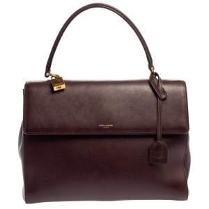 حقيبة سان لوران يد علوية موجيك متوسطة جلد عنابية