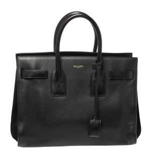 حقيبة يد سان لوران باريس ساك دو جور كلاسيك صغيرة جلد سوداء