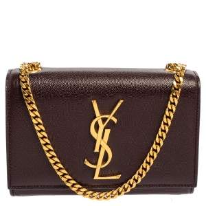 Saint Laurent Burgundy Leather Small Monogram Kate Shoulder Bag