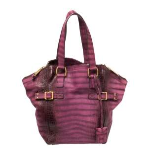 Saint Laurent Purple Croc Embossed Leather Small Downtown Tote