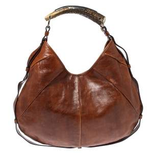 Saint Laurent Dark Brown Leather Mombasa Hobo