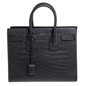 Saint Laurent Grey Croc Embossed Leather Small Classic Sac De Jour Tote