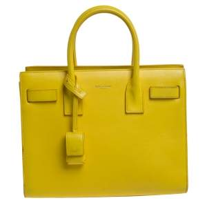Saint Laurent Yellow Leather Baby Classic Sac De Jour Tote