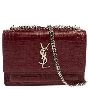 Saint Laurent Burgundy Croc Embossed Leather Sunset Shoulder Bag