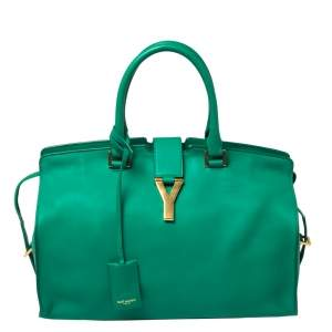 Saint Laurent Green Leather Small Cabas Ligne Y Tote