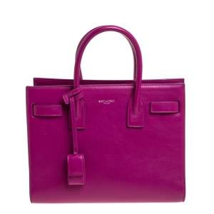 Saint Laurent Fuchsia Leather Baby Classic Sac De Jour Tote