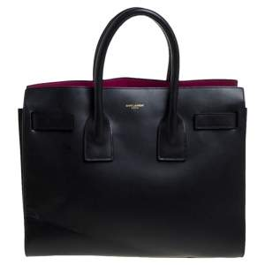 Saint Laurent Black Leather Small Classic Sac De Jour Tote