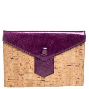 Saint Laurent Paris Beige/Purple Cork and Patent Leather Clutch