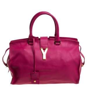 Saint Laurent Fuchsia Leather Medium Cabas Y-Ligne Tote