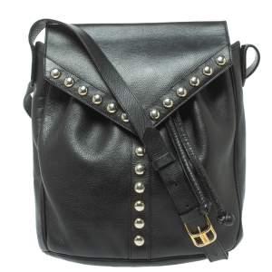 Saint Laurent Black Leather Studded Y Flap Shoulder Bag