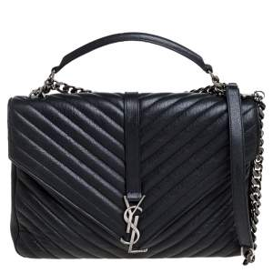 Saint Laurent Black Matelasse Leather Large College Top Handle Bag