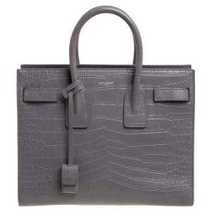 Saint Laurent Grey Croc Embossed Leather Small Classic Sac De Jour Tote