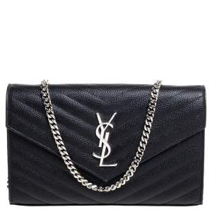 Saint Laurent Black Matelasse Leather Monogram Envelope Wallet on Chain
