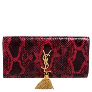 Saint Laurent Red/Black Python Kate Tassel Clutches