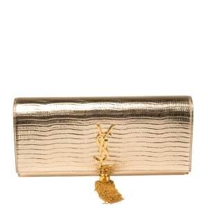Saint Laurent Gold Embossed Leather Monogram Kate Tassel Clutch