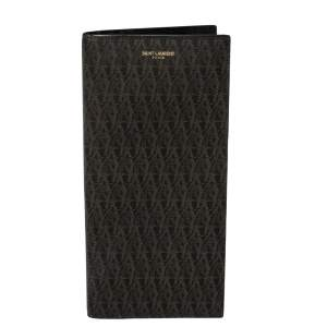 Saint Laurent Black/Brown Monogram Coated Canvas Continental Wallet
