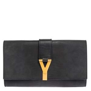 حقيبة كلاتش سان لوران باريس شيك كبيرة جلد نقش سحلية أومبريه رماديه