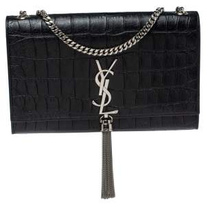 Saint Laurent Black Croc Embossed Leather Kate Monogram Shoulder Bag
