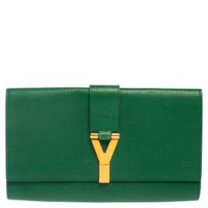 حقيبة كلتش سان لوران واى-ليغن جلد خضراء