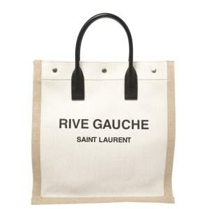 Saint Laurent Beige/Black Canvas and Leather Rive Gauche Tote