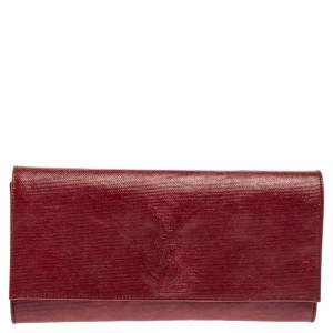 حقيبة كلتش سان لوران بل دو جور قلاب جلد منقوش حمراء