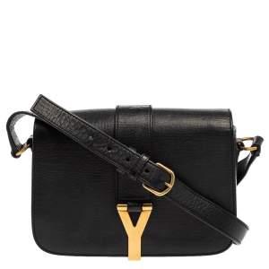 Yves Saint Laurent Black Leather Y-Ligne Flap Crossbody Bag