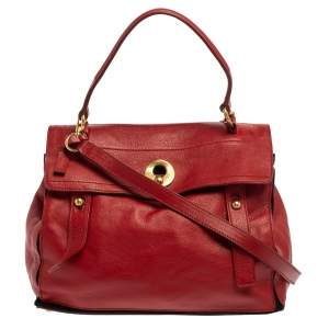 Yves Saint Laurent Red Leather And Canvas Medium Muse Two Satchel