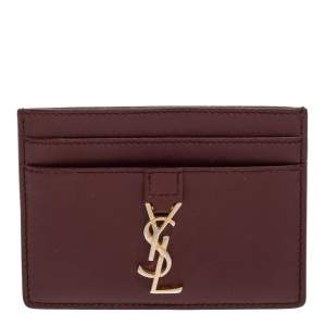 Saint Laurent Burgundy Leather Y Line Card Case