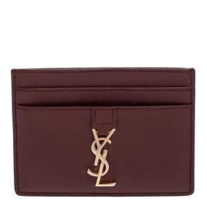 Saint Laurent Burgundy Leather Y Line Card Case