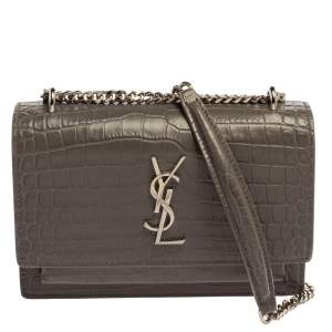 Saint Laurent Grey Croc Embossed Leather Sunset Shoulder Bag