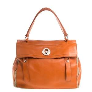 Yves Saint Laurent Orange/Beige Leather and Canvas Muse Two Satchel