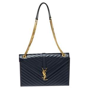 Saint Laurent Navy Blue Matelasse Leather Large Cassandre Flap Bag