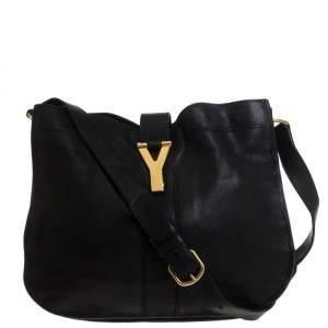 Yves Saint Laurent Black Leather Cabas Y-Ligne Shoulder Bag