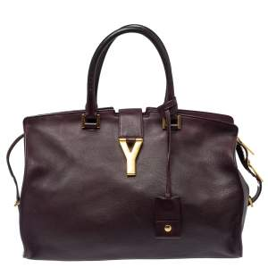 Saint Laurent Burgundy Leather Medium Cabas Y-Ligne Tote