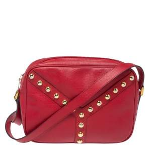 Saint Laurent Red Studded Leather Y Shoulder Bag