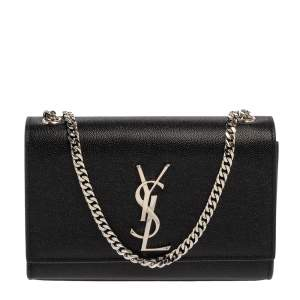 Saint Laurent Black Grain Leather Small Kate Shoulder Bag