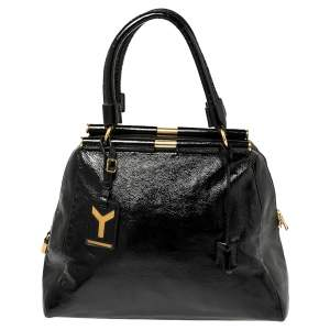 Saint Laurent Black Patent Leather Medium Majorelle Tote
